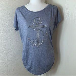 SJS Blue Bling Anchor Side Ruffle T-Shirt